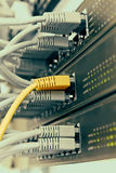 Шкаф сервера пульта временных соединительных кабелей с серыми шнурами стоковое фото rf