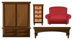 Шкаф, ящик, таблица и кресло иллюстрация вектора
