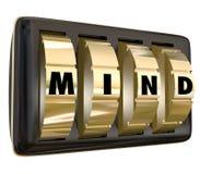Шкалы слова разума фиксируют прочь идеи памяти сейф безопасный открывает мощное Стоковые Изображения RF