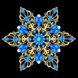 шкентель фибулы с и драгоценные камни Филигранные викторианские ювелирные изделия вектор изображения иллюстрации элемента констру иллюстрация вектора