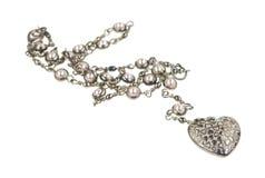 Шкентель сердца на серебряной цепи Стоковое Фото