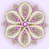 шкентель фибулы с и драгоценные камни филигранно бесплатная иллюстрация