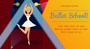 Школа балета, шаблон знамени сети классов танцев иллюстрация штока