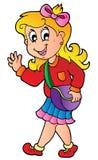 школа девушки шаржа к гулять иллюстрация штока