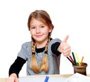 школа девушок thumbs вверх Стоковые Фото