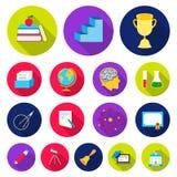 Школа и значки образования плоские в собрании комплекта для дизайна Коллеж, оборудование и аксессуары vector сеть запаса символа бесплатная иллюстрация