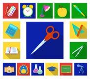 Школа и значки образования плоские в собрании комплекта для дизайна Коллеж, оборудование и аксессуары vector сеть запаса символа иллюстрация штока