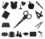 Школа и значки образования черные в собрании комплекта для дизайна Коллеж, оборудование и аксессуары vector сеть запаса символа бесплатная иллюстрация