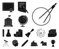 Школа и значки образования черные в собрании комплекта для дизайна Коллеж, оборудование и аксессуары vector сеть запаса символа иллюстрация штока