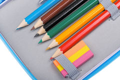 школа карандаша случая близкая вверх Стоковое Изображение