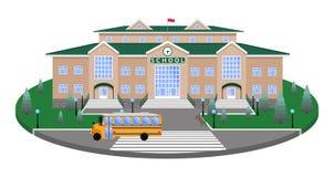 Школа, классическое здание на круговой платформе лужайки к дороге, пешеходный переход, с разделом влияния 3D иллюстрация вектора