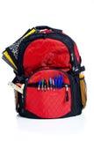 школа красного цвета backpack Стоковые Фотографии RF