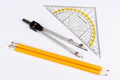 школа математики бумажная придала квадратную форму инструментам Стоковые Изображения RF