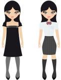 школа японца девушки иллюстрация вектора