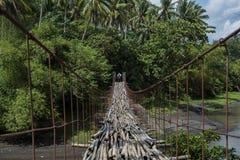 Школьник идет на приостанавливанный мост справленный бамбуком водя к джунглям в Legazpi, Филиппинах стоковые изображения