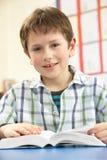 школьник класса изучая учебник Стоковые Изображения RF