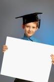 Школьник с пустой бумагой стоковая фотография rf