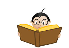 школьник чтения книги Стоковые Фотографии RF