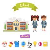 Школьное здание и характеры бесплатная иллюстрация