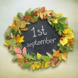 Школьное правление с ` 1-ое сентября ` надписи Стоковая Фотография