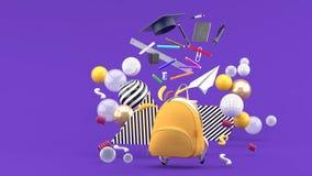 Школьные принадлежности плавая из сумки школы между красочными шариками на пурпурной предпосылке стоковые изображения rf
