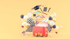 Школьные принадлежности плавая из сумки школы между красочными шариками на оранжевой предпосылке стоковое изображение