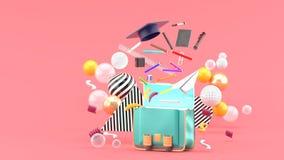 Школьные принадлежности плавая из сумки школы между красочными шариками на розовой предпосылке стоковое фото