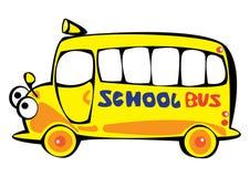 Школьный автобус желтого цвета шаржа вектора изолированный на белизне Стоковое Фото