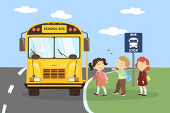 Школьный автобус с дет иллюстрация штока