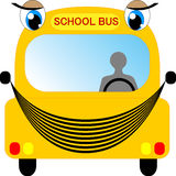 Школьный автобус шаржа изолированный на белизне Стоковое Изображение RF