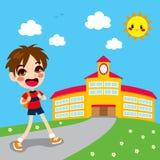 школа мальчика идя к бесплатная иллюстрация