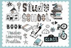 Школа нарисованная рукой установила 01 Стоковое Изображение