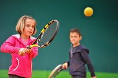 Школа тенниса Стоковая Фотография