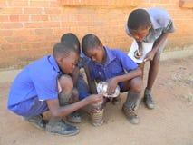 Школьники проводя эксперимент с самодельным оборудованием стоковое фото rf