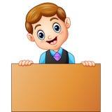 Школьник держащ деревянные знаки Стоковые Фотографии RF