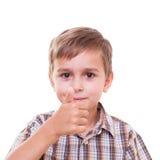 Школьник показывая номера с рукой Стоковое Фото