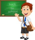 Школьник стоя перед доской с волной ее руки иллюстрация штока