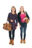 Школьницы с сумками школы Стоковая Фотография
