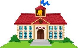 Школьное здание шаржа изолированное с зеленым двором бесплатная иллюстрация