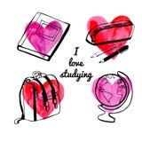 Школьные принадлежности вектора с сердцами акварели Иллюстрация штока