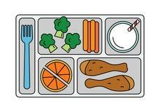 Школьный обед в линии стиле иллюстрация штока
