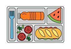 Школьный обед в линии стиле иллюстрация вектора