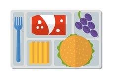 Школьный обед в плоском стиле иллюстрация вектора
