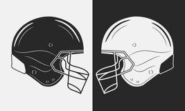 2 шлема американского футбола чернота против белизны также вектор иллюстрации притяжки corel иллюстрация вектора
