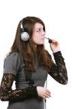 шлемофон девушки Стоковые Фотографии RF