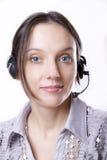 шлемофон девушки Стоковая Фотография RF