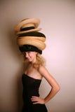 шлемы девушки много носить западный стоковое изображение