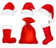 шлемы красный santa 3 элементов иллюстрация штока