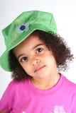 шлем девушки зеленый Стоковое Фото