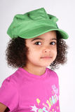 шлем девушки зеленый Стоковые Фотографии RF